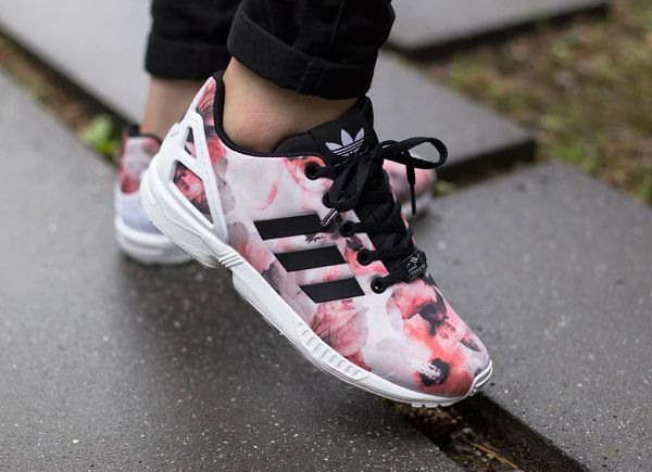 Adidas Zx Flux White And Black Floral