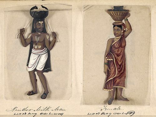 Vendedor de leche hindú y su mujer-Seventy two specimens of castes in India 1837