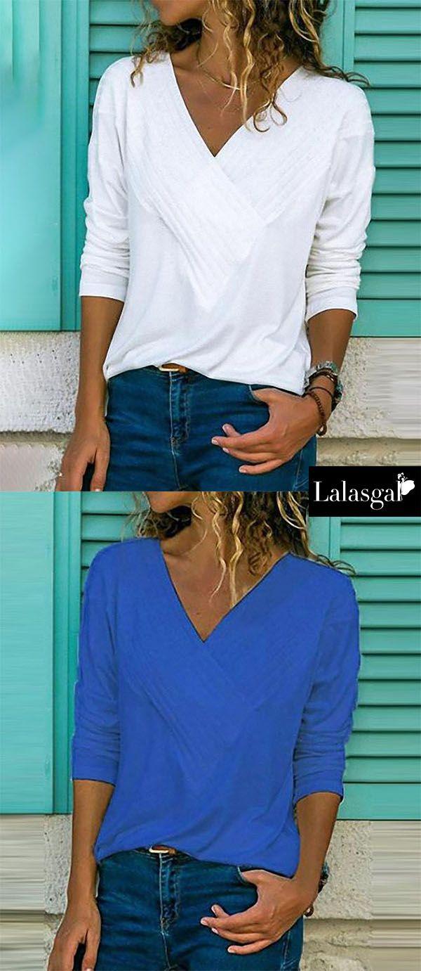 6375f52ba7ed7e Buy 3 Got 8% OFF Code  8OFF Brief V Neck Long Sleeve Plain Casual T-Shirts
