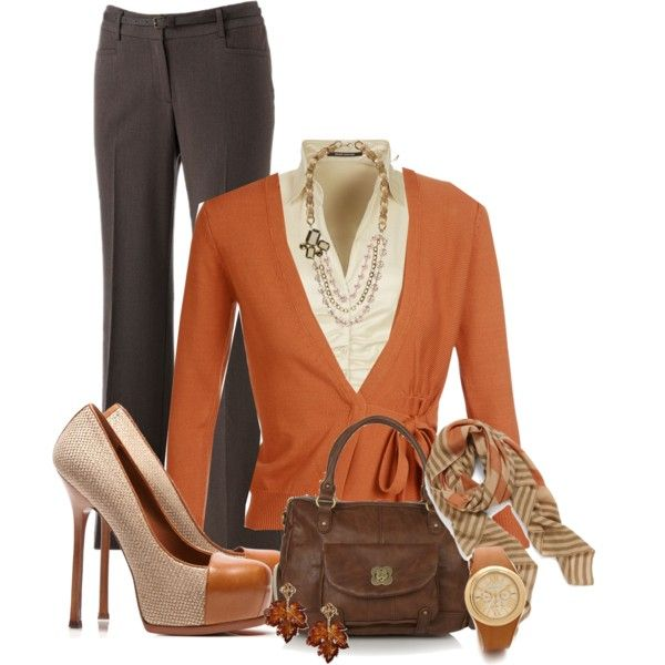 "Love the scarf, necklace, and two tone shoes. ""Work outfit for fall"" by wulanizer"