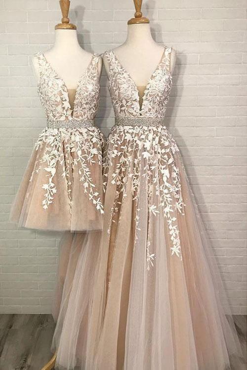 A Line Tulle V Neck Straps Lace Appliques Prom Dresses Long Party Dresses P1013