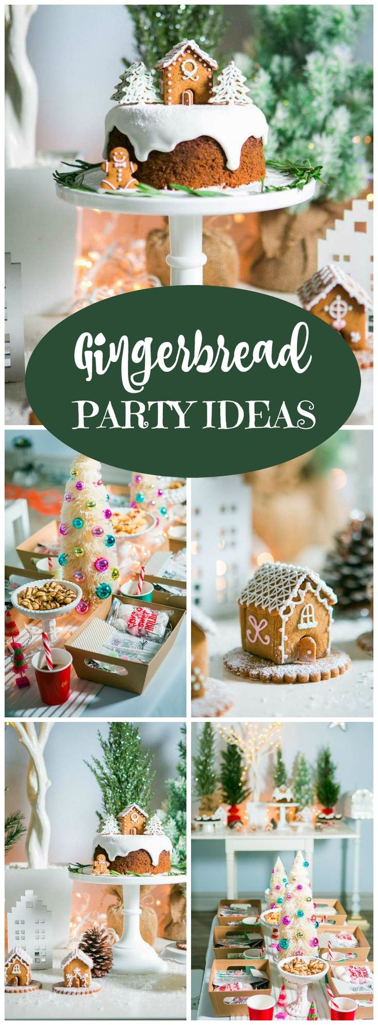 This holiday craft party has gingerbread cottages with snowy sparkle! See more party ideas at CatchMyParty.com!