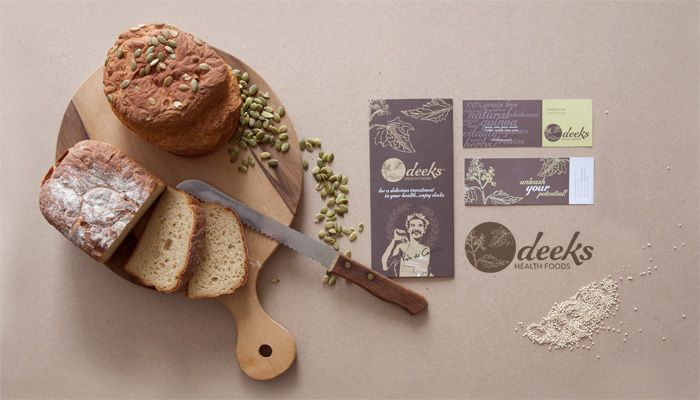 http://www.spectrumgraphics.com.au Deeks Health Foods, Rebrand, Brand Identity, design, artwork, poster, healthy food, retro, texture background, bread, flyer, business card