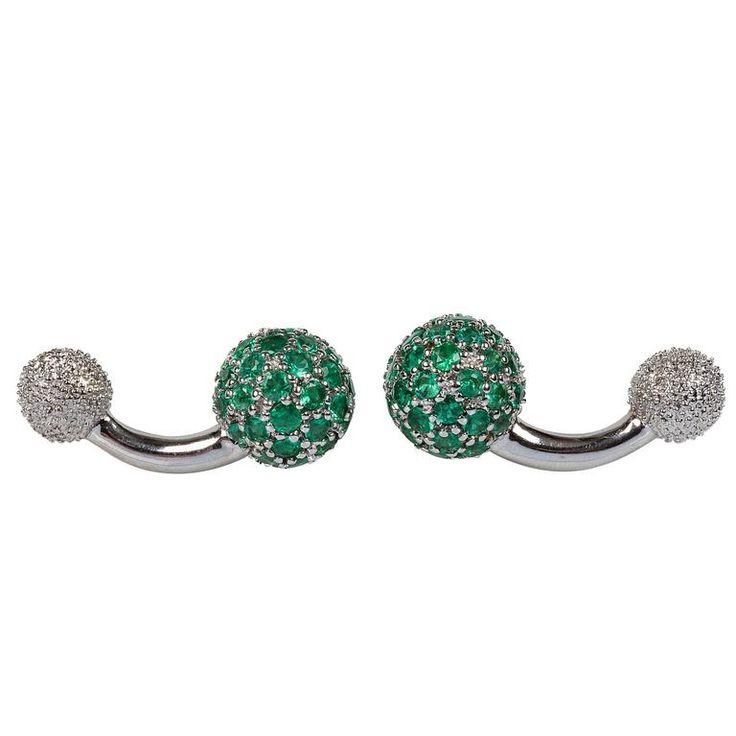 Emerald Sphere Gold Cufflinks | See more rare vintage Cufflinks at https://www.1stdibs.com/jewelry/cufflinks/cufflinks
