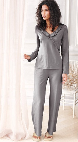Ruffle-Trimmed Surplice Organic Cotton Pajamas  by Garnet Hill