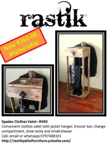Spades Clothes Valet– R450Convenient clothes valet with jackethanger, trouser bar, change compartment, shoe racka and small drawerCall, email or whatsapp0797488101http://rastikpalletfurniture.yolasite.com/