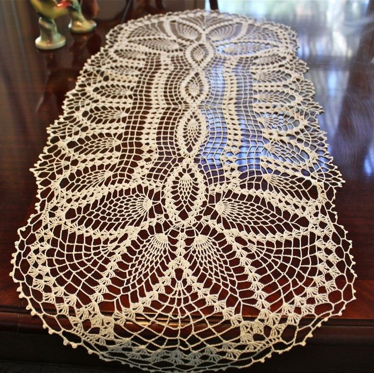Crochet Table Runners And Doilies   Table Doilies   This Vintage Oval White  Cotton Crocheted Table