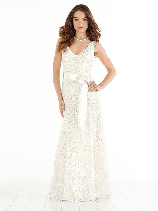 Full-length V-neck lace beach wedding dress has sweep train and matching ribbon belt.  http://www.dessy.com/dresses/wedding/1018/