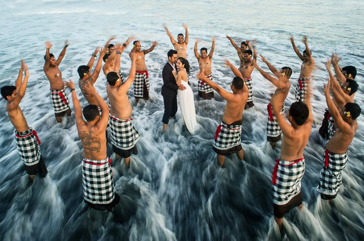 engagement photos in Bali with Kecak Dance performance