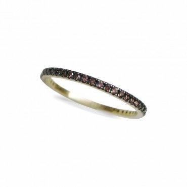 Μοντέρνο γυναικείο ολόβερο λεπτό δαχτυλίδι από χρυσό Κ14 σειρέ με καφέ πέτρες ζίργκον σε όλο το μήκος | Δαχτυλίδια ΤΣΑΛΔΑΡΗΣ στο Χαλάνδρι #σειρέ #ζιργκον #χρυσο #δαχτυλίδι #rings