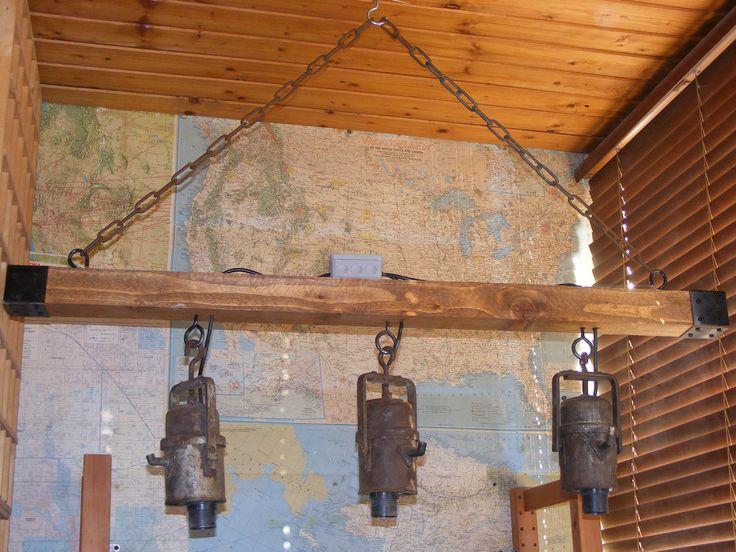 Miner's carbide lamp chandelier