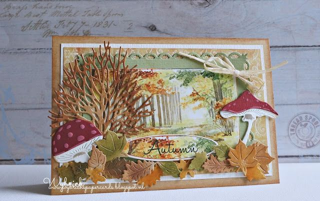 Handmade card by DT member Wybrich with Craftables Basic Rectangle (CR1334), Punch-Die Autumn Leaves (CR1336), Creatables Mushrooms (LR0372) and Tiny's Tree & Leaves (LR0375) from Marianne Design