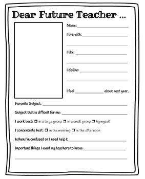 Dear Future Teacher Worksheet | Teach On | Teacher ...