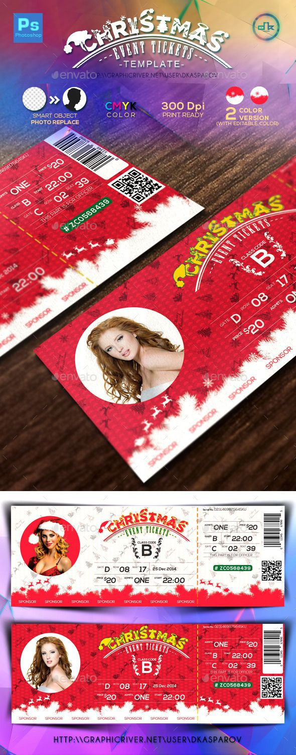 Christmas Event Tickets Print Ready - Miscellaneous Print Templates | Download at http://graphicriver.net/item/christmas-event-tickets-print-ready/9435890