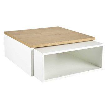 2 tables basses en bois blanches L 100 cm et L 94 cm