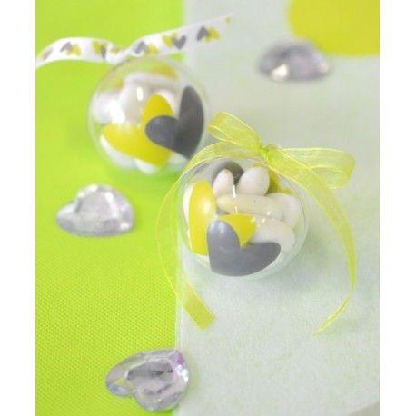Boule transparente coeur vert anis coeur gris 5 cm les 4