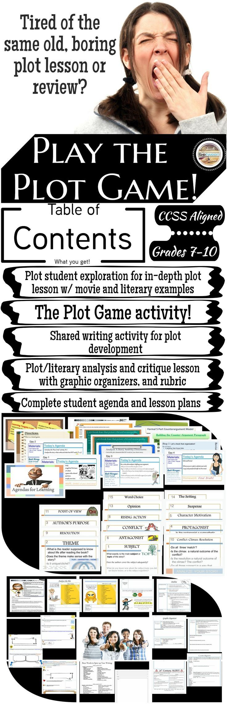The plot/literary elements game activity fosters a shared writing experience for students in the creation of a fun, creative, and often hilarious story.   Students then analyze this story for its flawed plot elements based on their understanding of litera