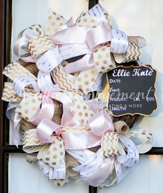 Baby Girl Wreath, Baby Shower Wreath, Baby Wreath, Pink Wreath, Baby Shower Decorations, Hospital Door Wreath, Baby Shower Wreath.   Welcome your baby into the world with this beauty! Southern Statement would like to introduce our Baby Girl Pink and Gold Funky Bow Grapevine Wreath. This creation features 4 different types of ribbon accented with a chalk board sign. She measures 24 inches wide, 26 inches long and is 6 inches deep. Each item we create is handcrafted, making them one of a kind…