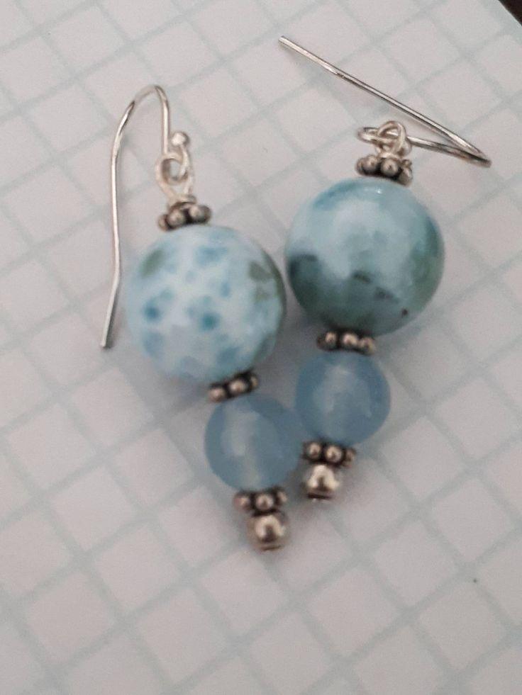 Larimar + Aquamarine Boho Dangle Earring by IntlGEMex on Etsy