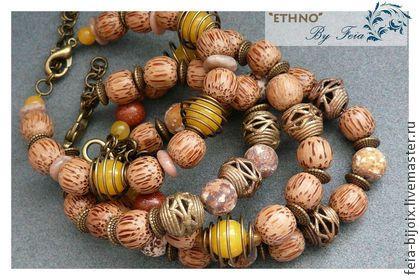 """Комплект браслетов """"Сафари"""" 4шт. - коричневый,песочный,желтый,бежевый"""