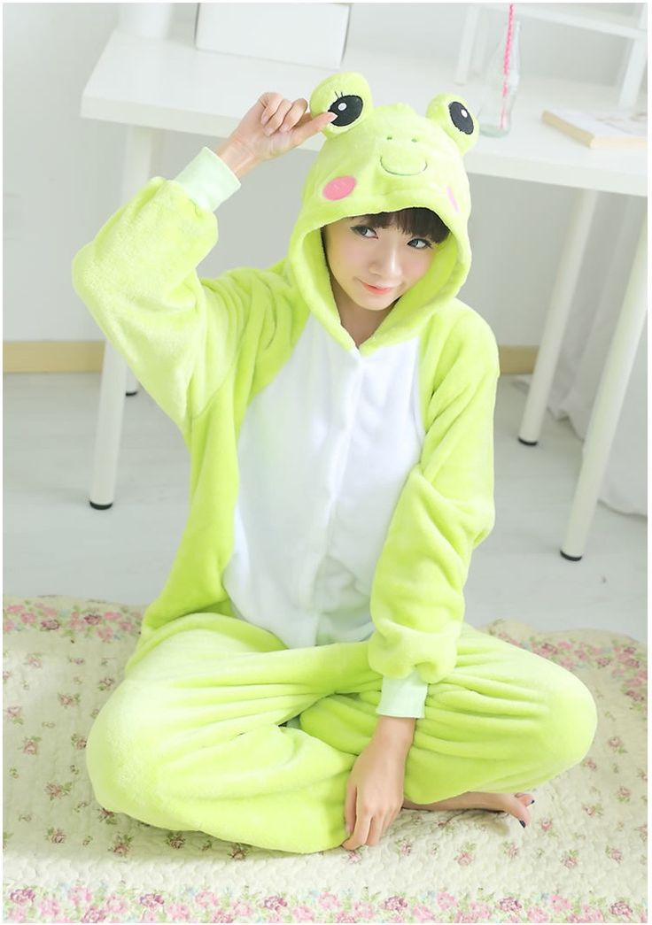 Flannel family animal pajamas one piece onsies onesies cosplay grenouille grenouillere frog pajama pijamas enteros de animales