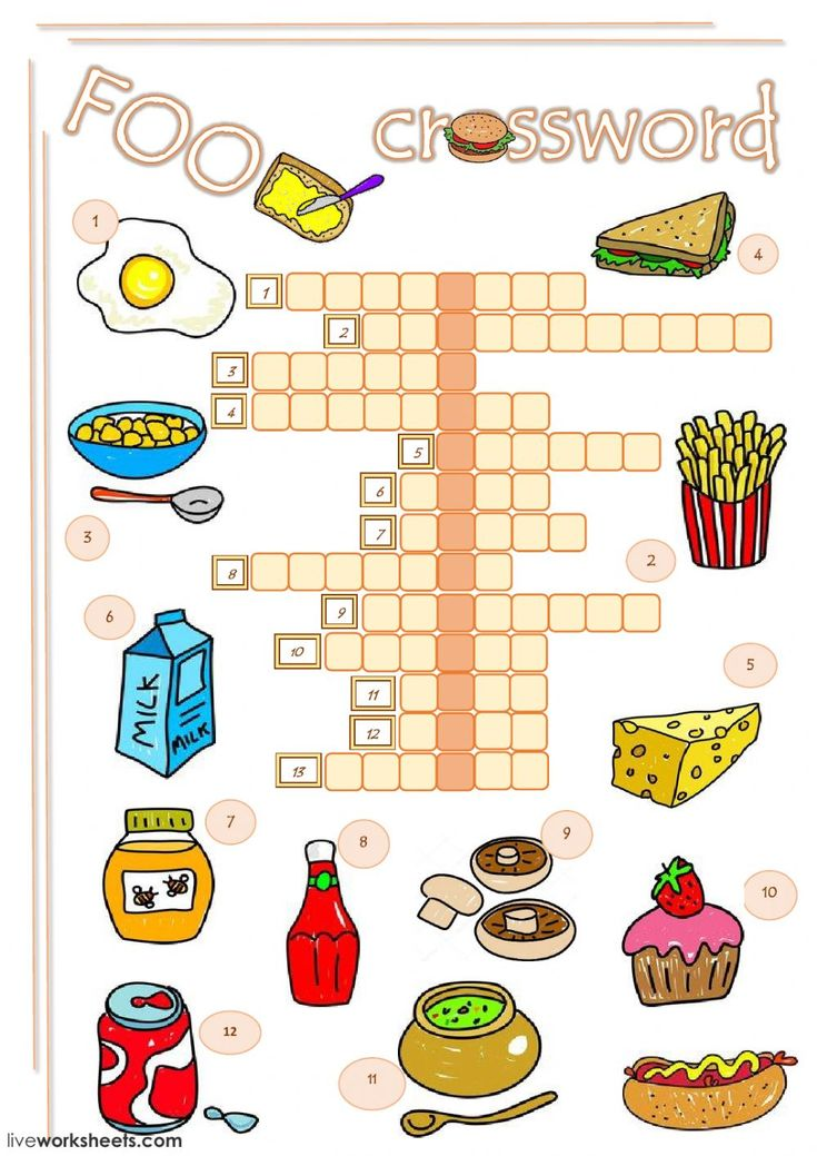 Food crossword Interactive worksheet Кроссворд