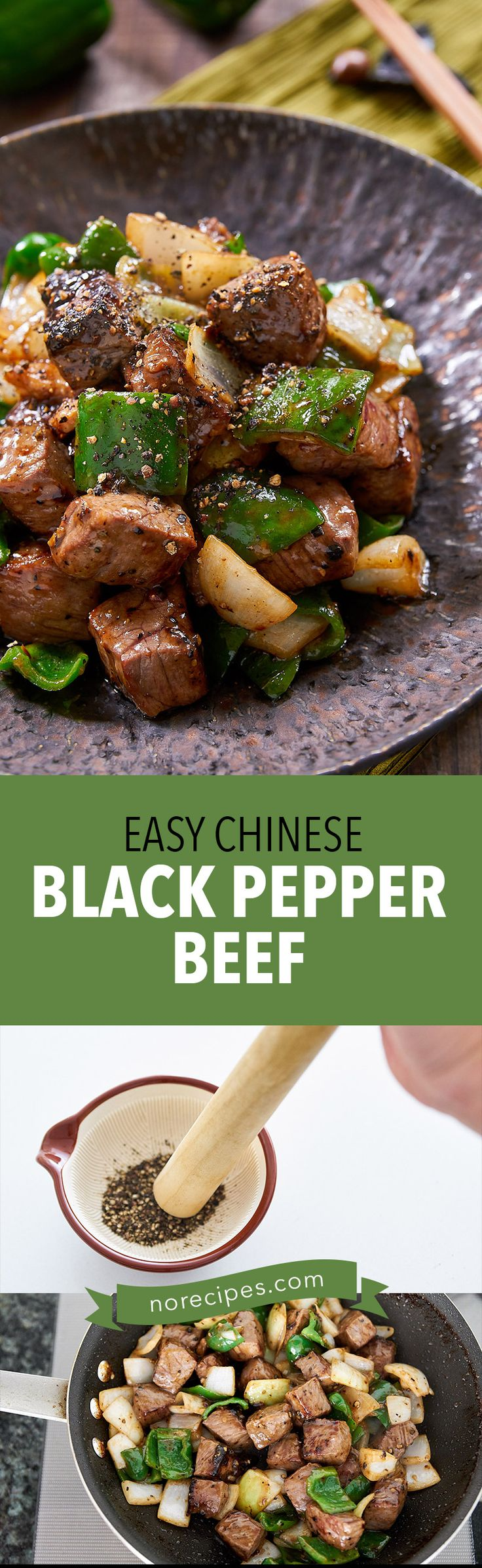 With big chunks of juicy beef stir-fried with vegetables and a savory black pepper sauce, this Black Pepper Beef recipe is easy and delicious.
