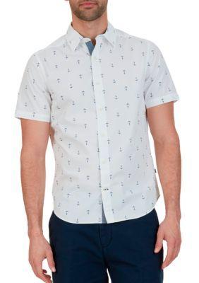 Nautica Bright White Big  Tall Anchor Print Short Sleeve Shirt
