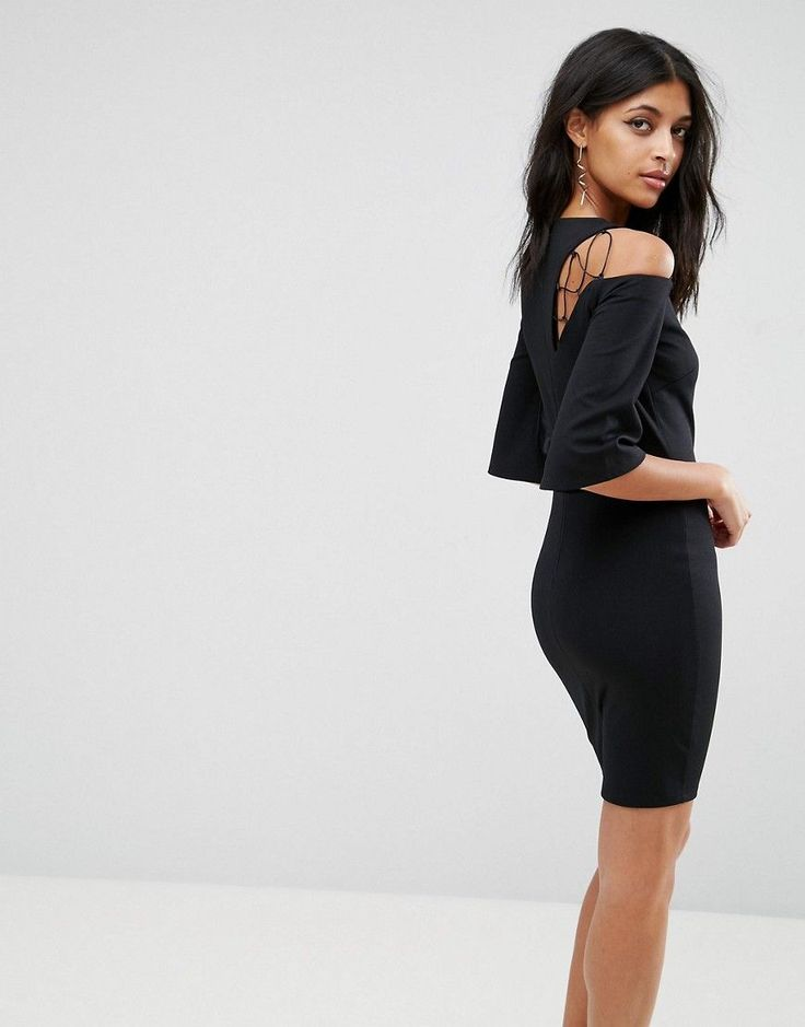 ASOS Fluted Sleeve Shift Dress with Ladder Detail - Black