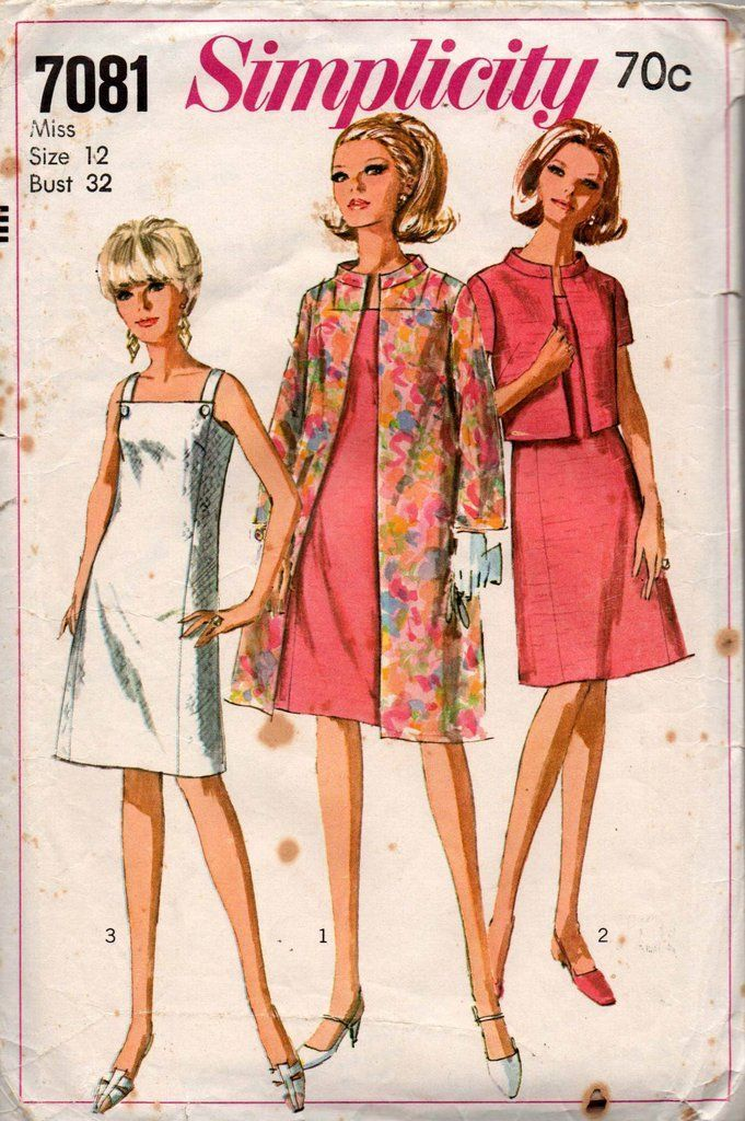 Simplicity 7081 Womens A Line Shift Dress Bolero Jacket & Coat 60s Vintage Sewing Pattern Size 12 Bust 32 inches #womenscoats #vintagesewingpatterns