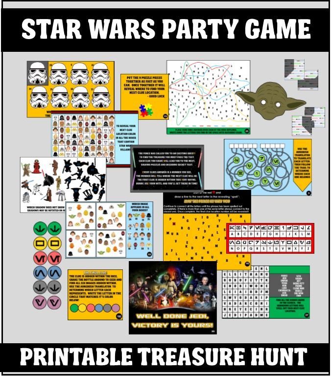 Our exclusive printable Star Wars treasure hunt is the perfect party game for your Jedi kid's Birthday Bash.