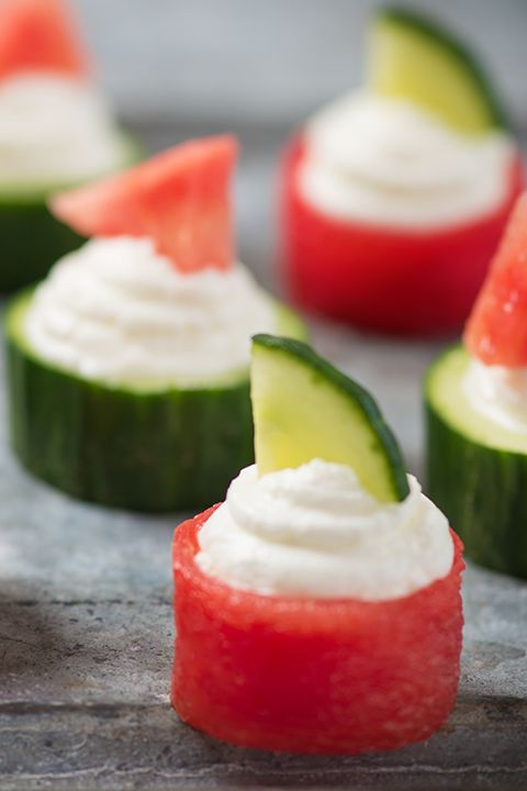 INGREDIENTS BY SAPUTO | Watermelon stars in this healthy and flavourful recipe idea, made with spreadable Woolwich Goat Cheese and cucumber. Try it for a fresh and delicious afternoon snack!