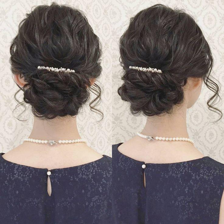 445 Likes, 1 Comments , R.Y.K Vanilla Emu (@ry01010828) on Instagram \u201cお呼ばれ ヘア 綺麗めスタイル 黒髪でも柔らかい雰囲気に! 髪飾りは持ってきて頂ければ