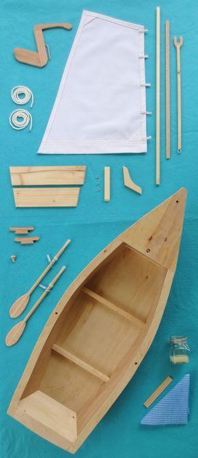 Wood Skiff Sailboat Model Kit for American by LemonBaySchooners, $99.00