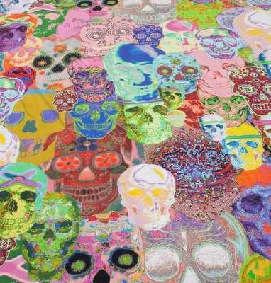 digitalprint af farverige kranier - jersey - køb den her