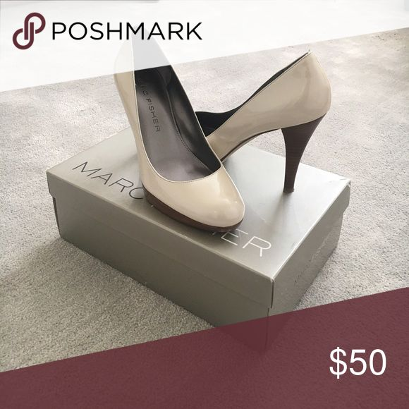 👠 Marc Fisher classic patent cream pumps Great condition, only worn 2 times. Extremely comfortable and versatile for long events such as weddings or graduations. Goes with any outfit! Marc Fisher Shoes Heels