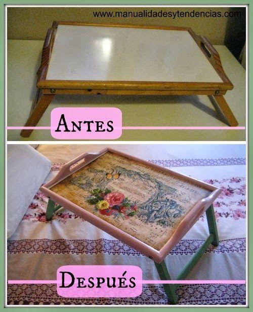Manualidades y tendencias: Decoupage: Bandeja romántica / Romantic tray www.manualidadesytendencias.com