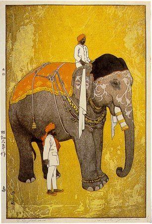 Elephant, by Hiroshi Yoshida(1876-1950), 1931.  版画Hanga(woodblock printing)
