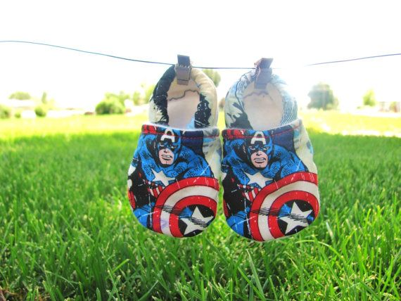 Captain America, Marvel Comics, Baby Booties, Baby Boy Shoes, Cloth Baby Shoes, Elastic baby Shoes