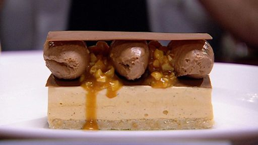 Caramel Parfait Glace with Salted Peanut Caramel and Milk Chocolate Mousse