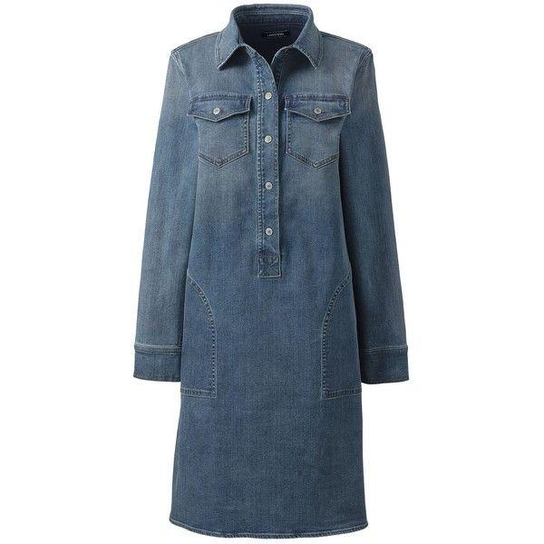 Lands' End Women's Petite Long Sleeve Denim Shirt Dress ($79) via Polyvore featuring dresses, long-sleeve denim dresses, petite dresses, petite shirt dress, long sleeve denim dress and long sleeve dress