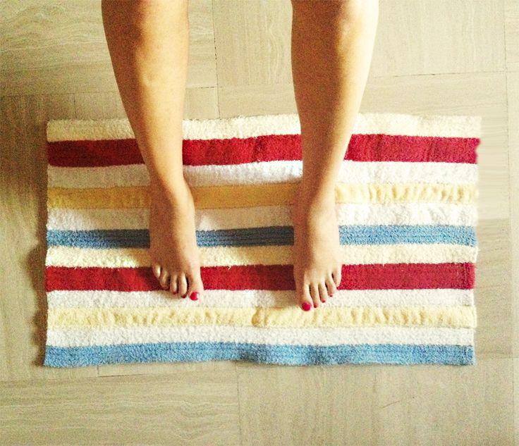 #tappeto realizzato con #cinte di #accappatoi vecchi