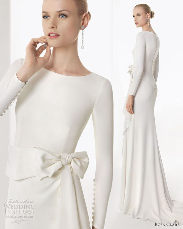 rosa clara 2013 borgonya long sleeve sheath wedding dress