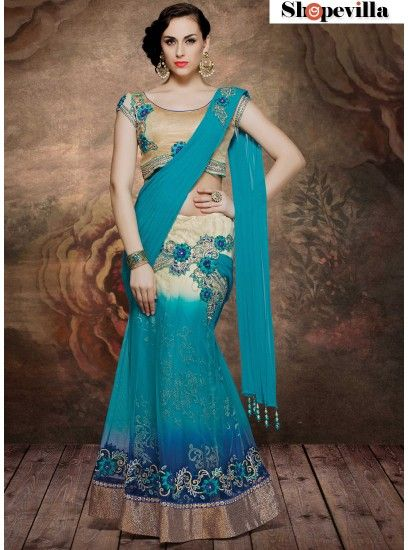 Designer Net-Shimmer Beige & Turquoise Colour Lehenga Saree With Embroidery-4006