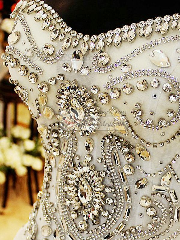 Ball Gown Sweetheart Cathedral Train Lace Crystals And Rhinestones ...