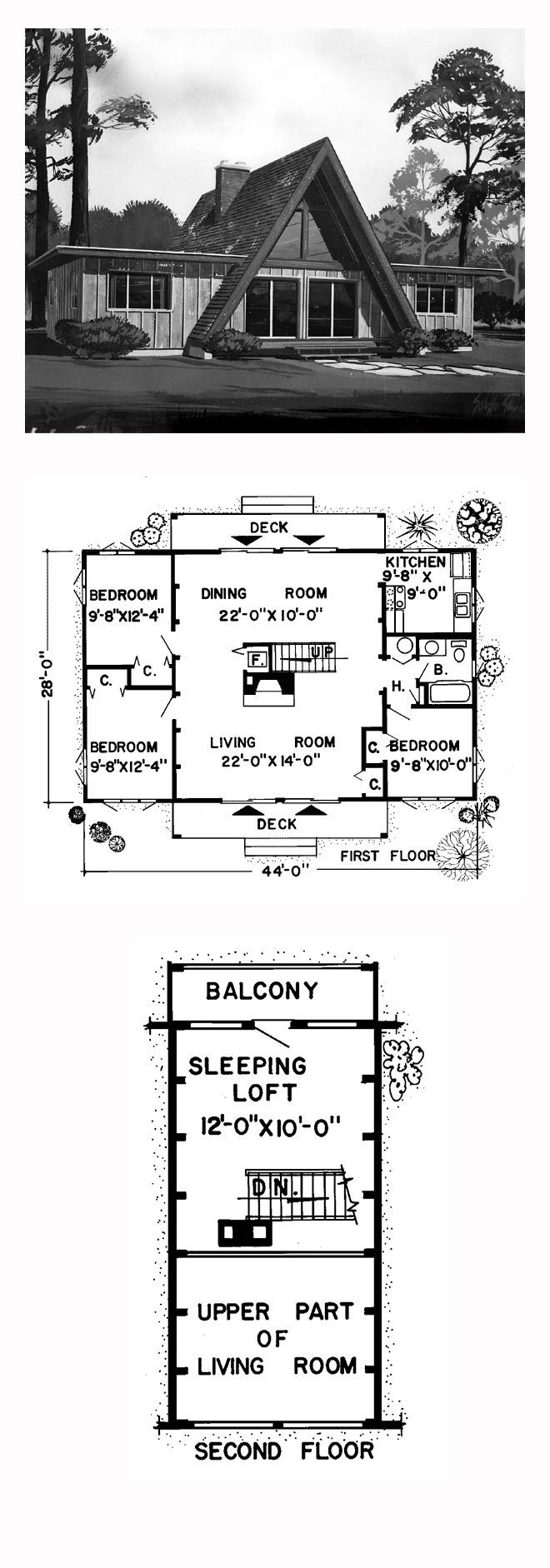 A-Frame Contemporary Retro Style House Plan with 1456 Sq Ft, 3 Bed, 1 Bath