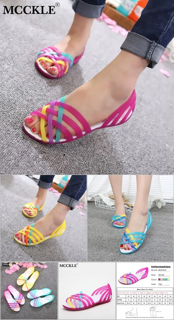 b41d95ef1 MCCKLE Women Jelly Shoes Rianbow Summer Sandals Female Flat Shoe Casual  Ladies Slip On Woman Candy