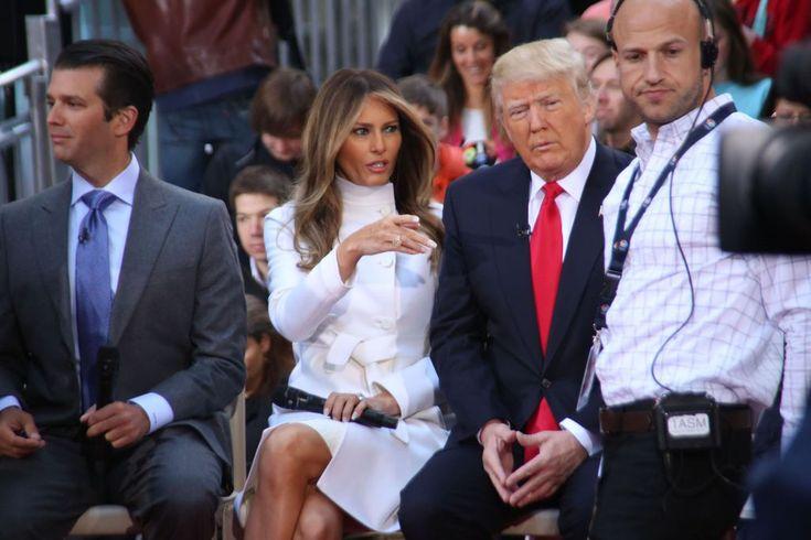 Donald Trump, sa femme Melania Trump et son fils Donald Trump, Jr - Donald Trump, candidat aux prima