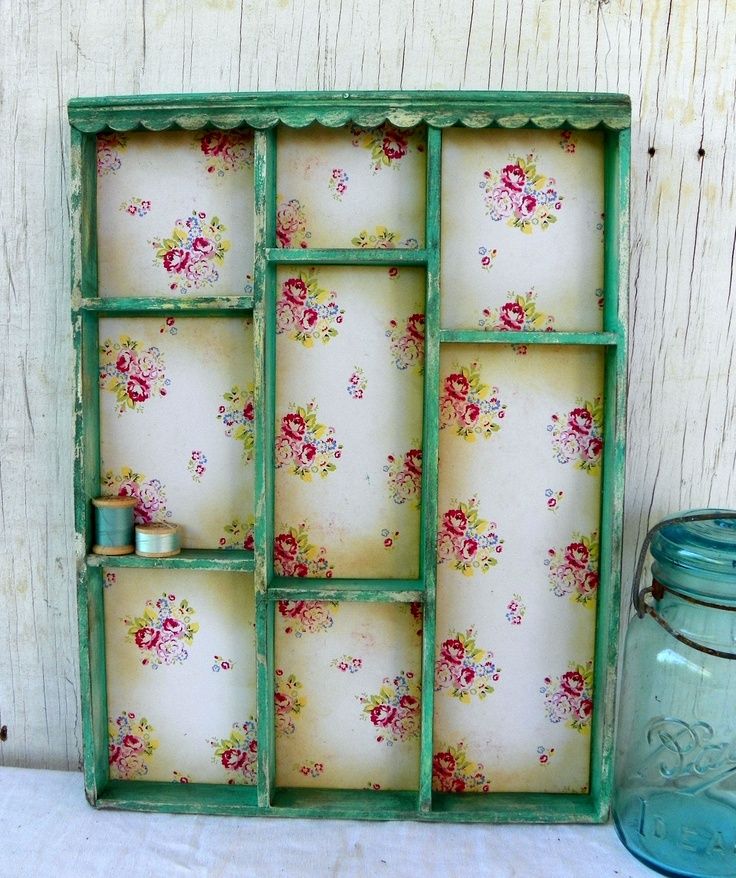 sweet little shelf.   shelf from tag sale or second hand store, craft paper, craft paint and stain, done!!