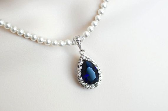 Blue Sapphire Necklace Bridal Necklace Bridal by CrinaDesign73